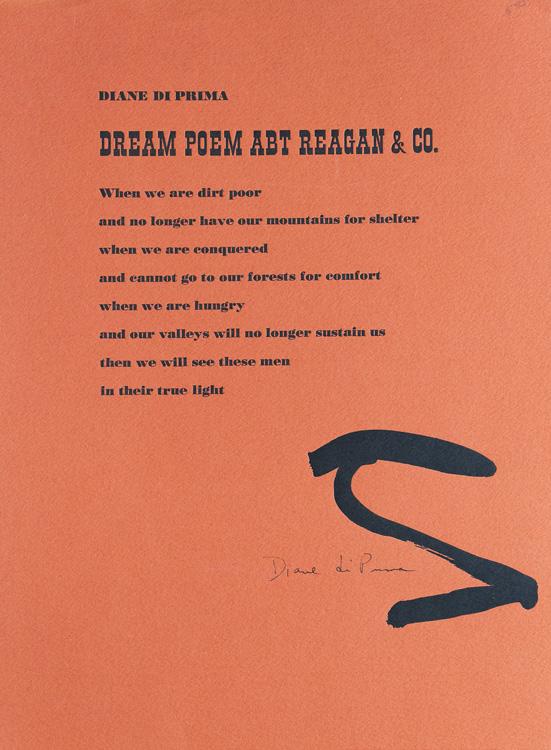 Diane Di Prima, Dream Poem Avt Reagan & Co.