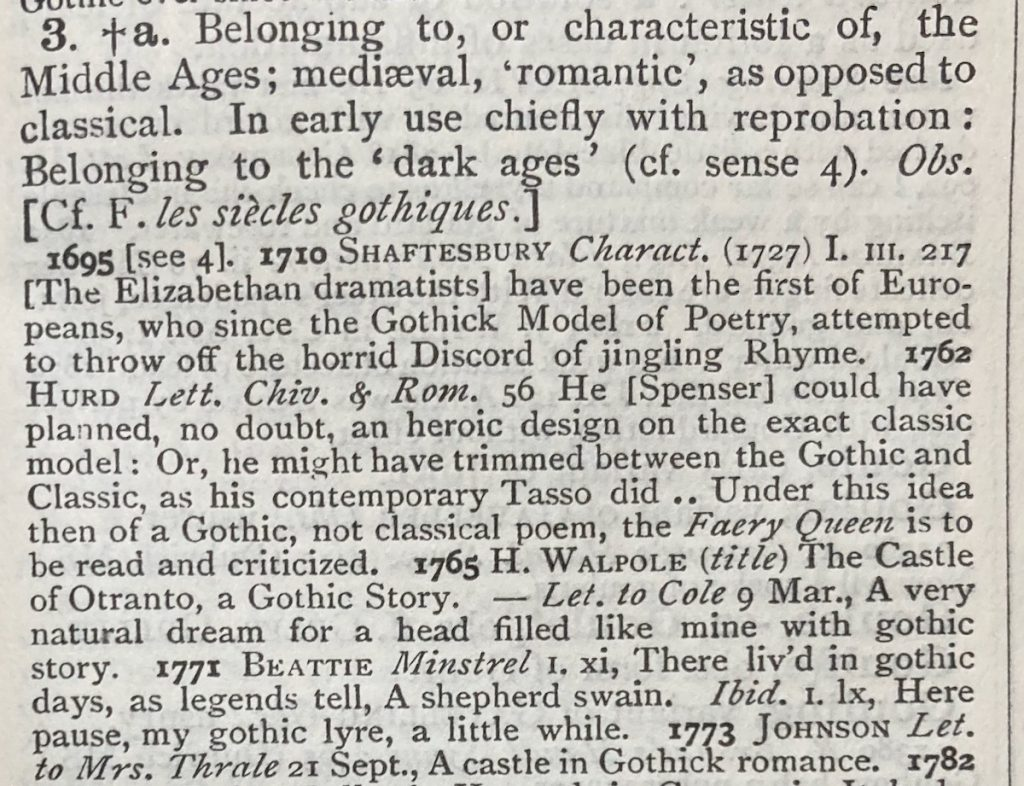 definition of the Gothic in the OED